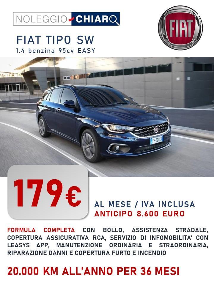 FIAT TIPO SW a partire da 179 €/mese. Canone di noleggio lungo termine. RCA KASCO Furto & Incendio PAI manutenzione tagliandi traino soccorso stradale bollo