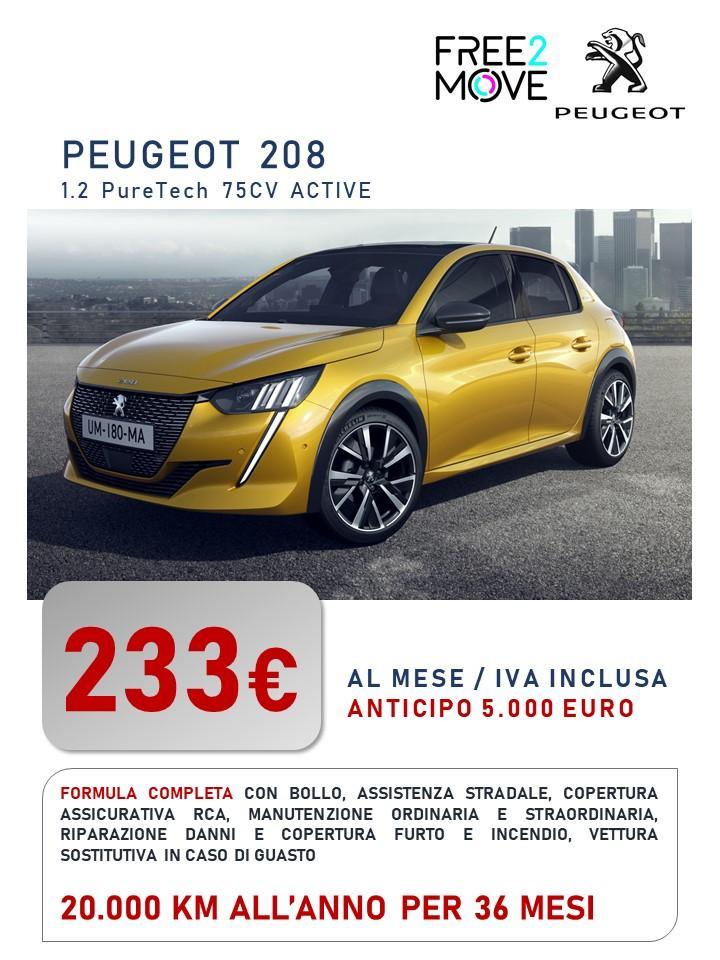 Nuova PEUGEOT 208 - canone di noleggio a partire da 233 euro/mese Bollo immatricolazione assicurazione RCA Kasco Manutenzione tagliandi pneumatici