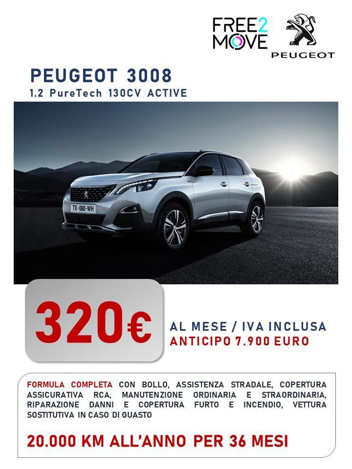 PEUGEOT 3008 - canone di noleggio a partire da 320 euro/mese Bollo immatricolazione assicurazione RCA Kasco Manutenzione tagliandi pneumatici