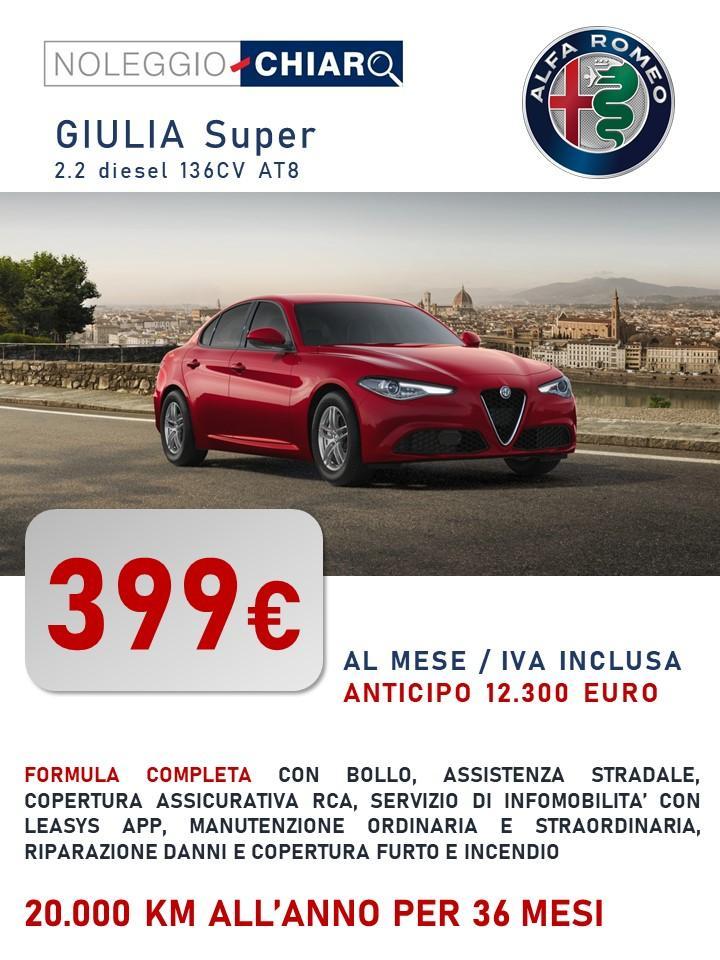 ALFA ROMEO Giulia - canone di noleggio a partire da 399 euro/mese IVATI Bollo immatricolazione assicurazione RCA Kasco Manutenzione tagliandi pneumatici