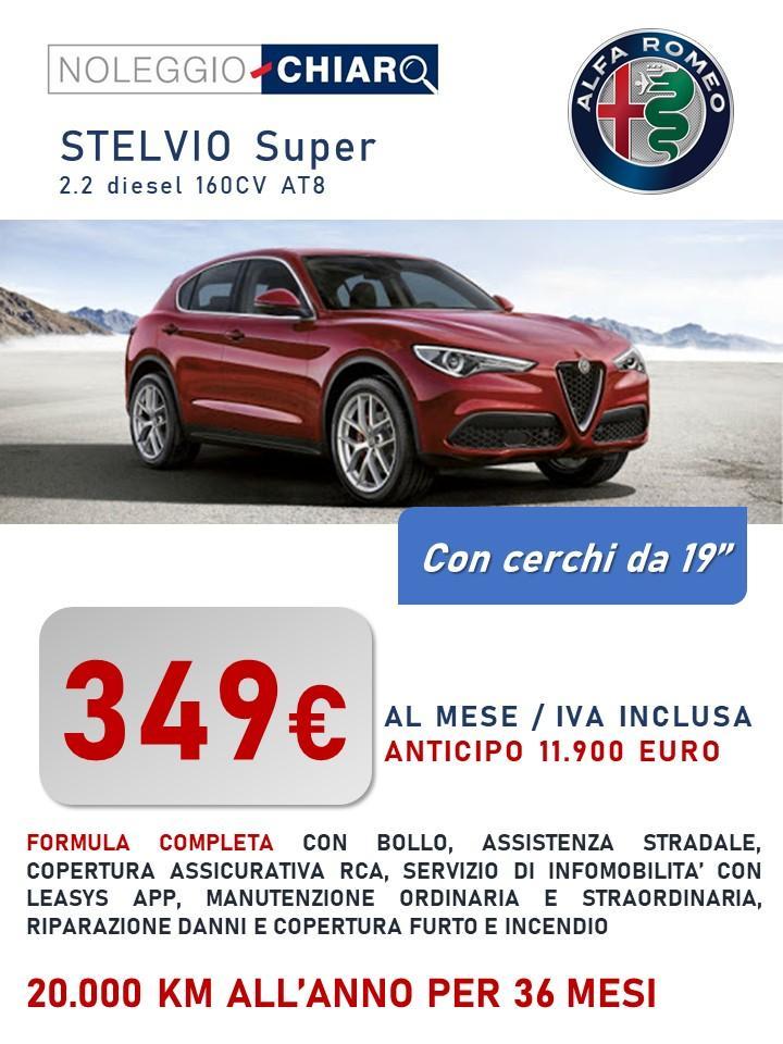 ALFA ROMEO Stelvio - canone di noleggio a partire da 399 euro/mese IVATI Bollo immatricolazione assicurazione RCA Kasco Manutenzione tagliandi pneumatici