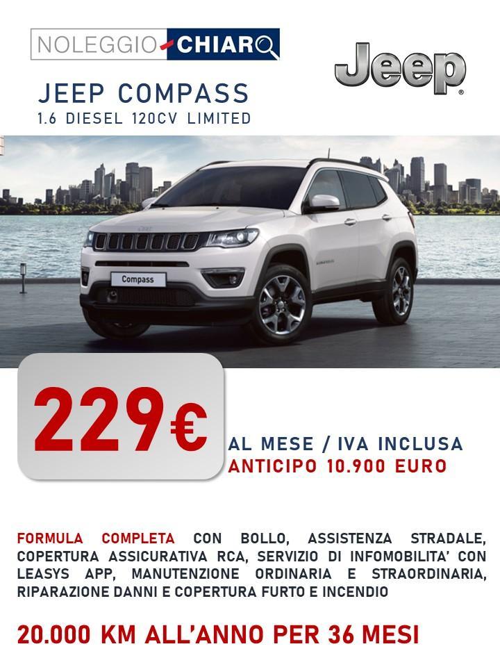 JEEP Compass - canone di noleggio a partire da 299 euro/mese IVATI Bollo immatricolazione assicurazione RCA Kasco Manutenzione tagliandi pneumatici