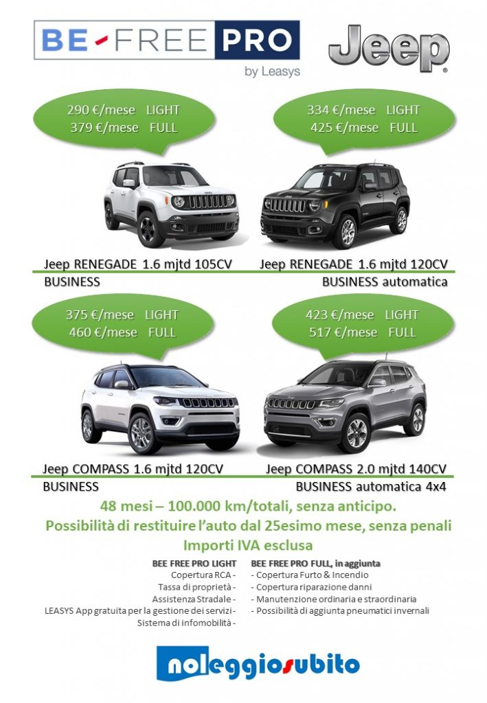 Offerta Be Free Pro Jeep Renegade Jeep Compass