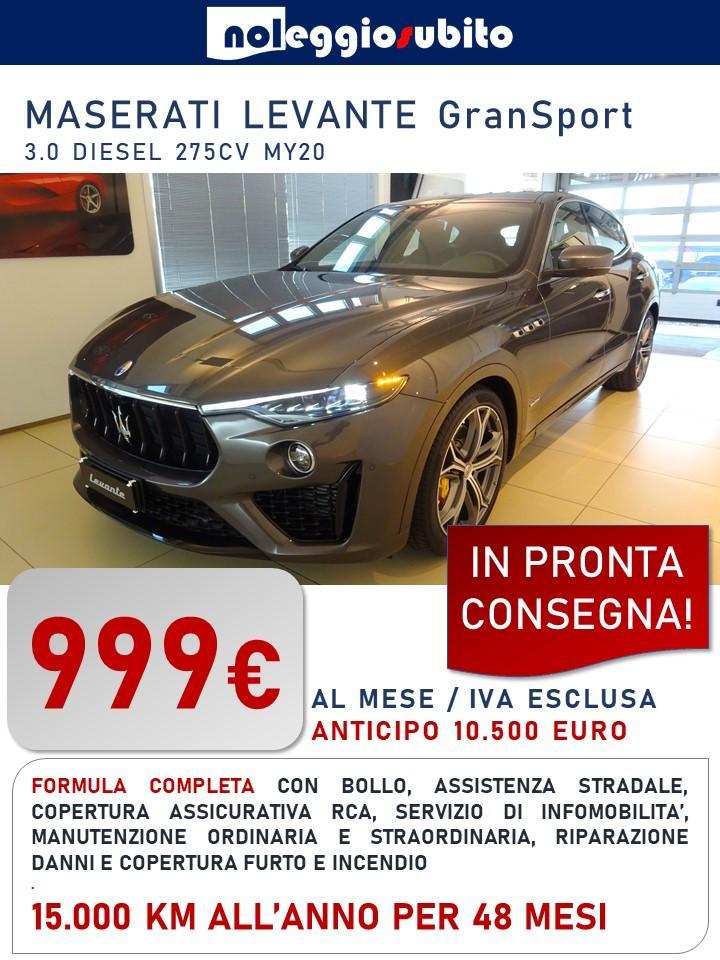 MASERATE LEVANTE GranSport - 999 euro/mese + IVA Canone di noleggio a lungo termine