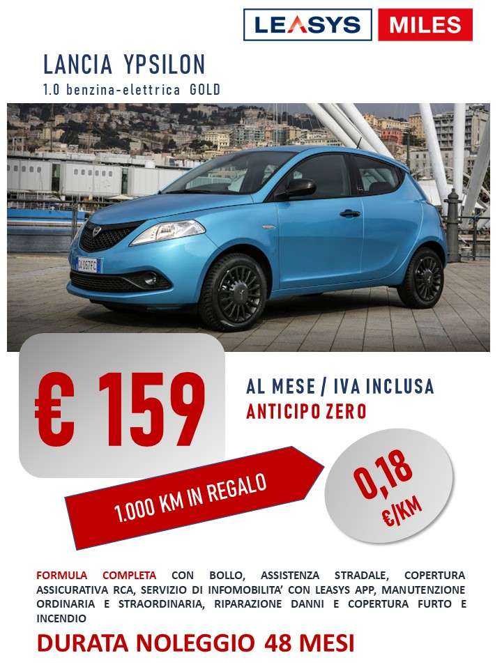 LANCIA YPSILON hybrid PAY PER USE: da 159 euro/mese IVATE. Solo 18 centesimi al Km! Noleggio Lungo Termine.