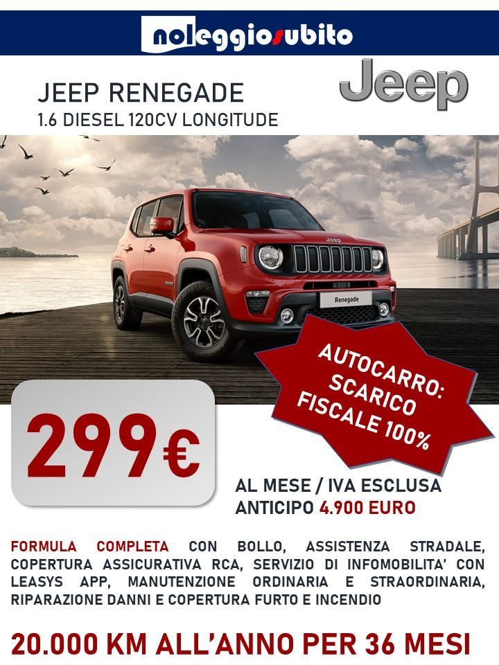 Jeep Renegade Autocarro N1 - Canone di noleggio a partire da 299 €/mese. Scarico fiscale 100% deducibile e detraibile